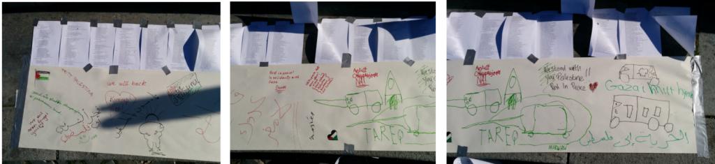 Hilsener og tegninger til barna i Gaza, og liste med navnene til de drepte barna