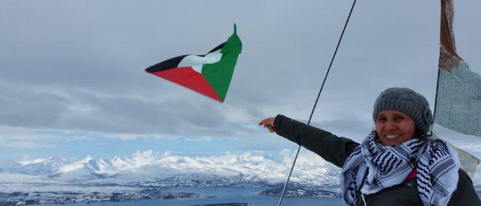 Nadia Khaled Qasem fra Kvinneunionen på besøk i Tromsø. Foto: Elisabet Sausjord