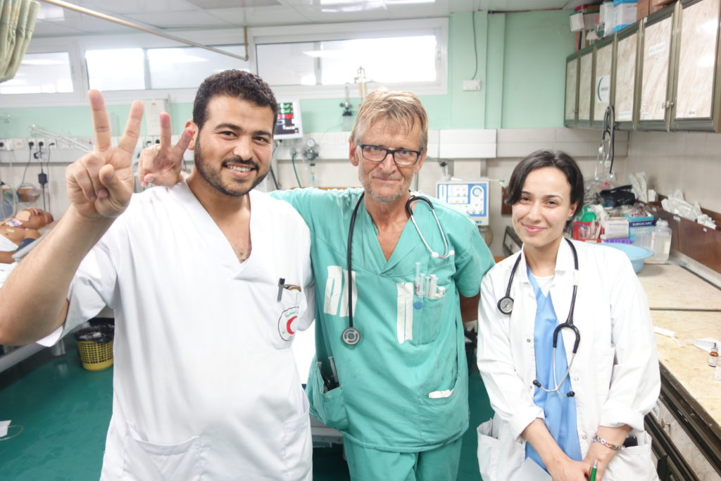 With colleagues at the Shifa hospital in Gaza, July 2014. Photo: Private